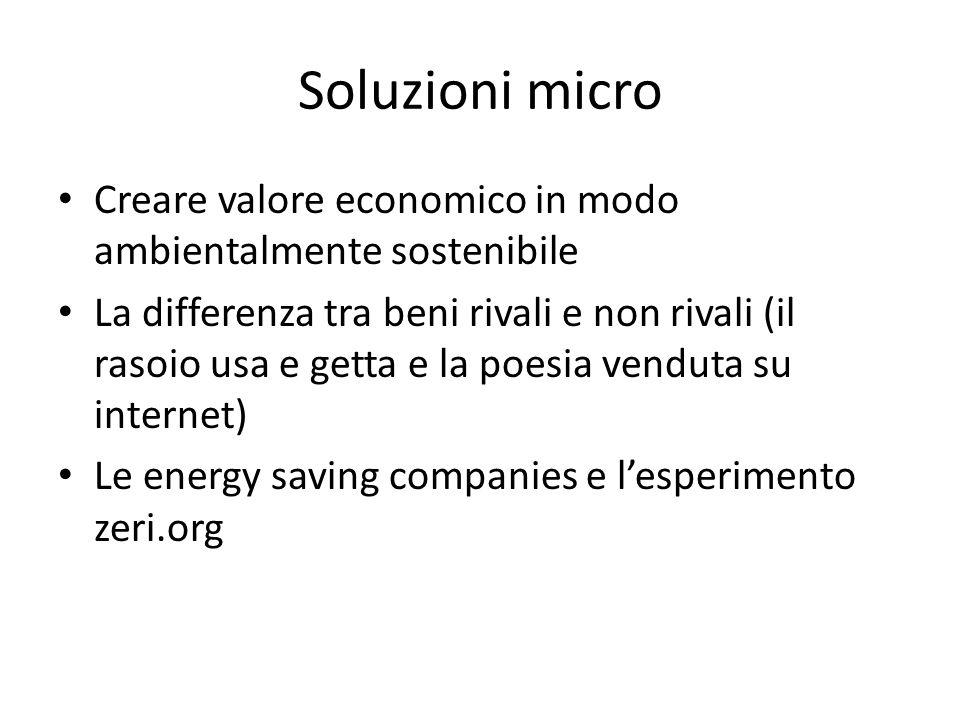 Soluzioni micro Creare valore economico in modo ambientalmente sostenibile.