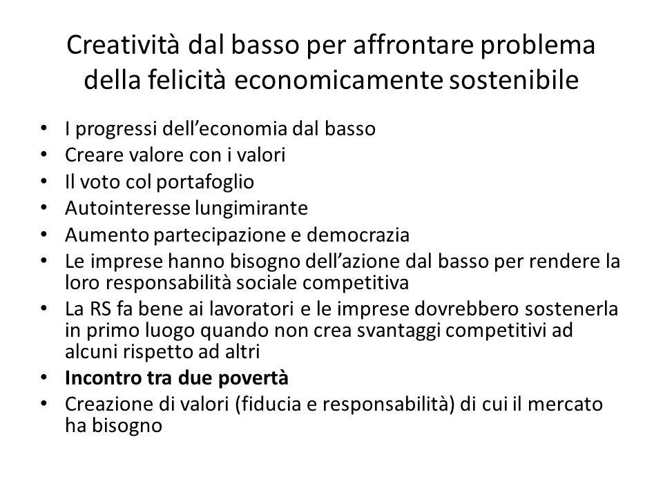 Creatività dal basso per affrontare problema della felicità economicamente sostenibile