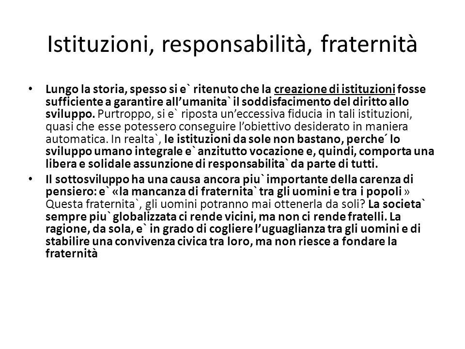 Istituzioni, responsabilità, fraternità