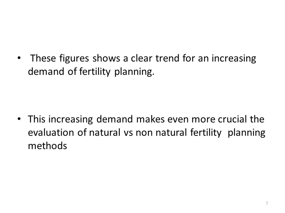 These figures shows a clear trend for an increasing demand of fertility planning.