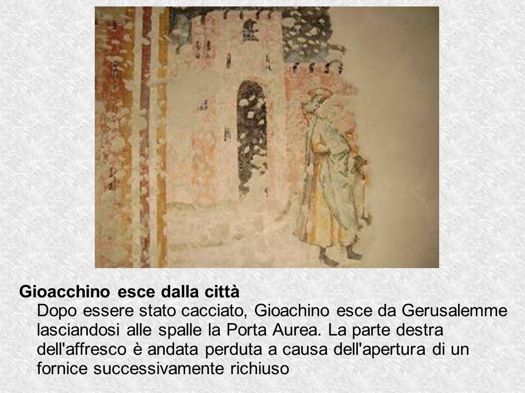 Gioacchino esce dalla città Dopo essere stato cacciato, Gioachino esce da Gerusalemme lasciandosi alle spalle la Porta Aurea.