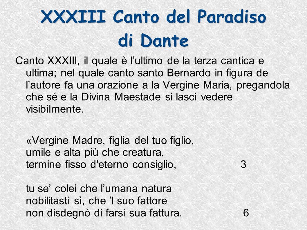 XXXIII Canto del Paradiso di Dante