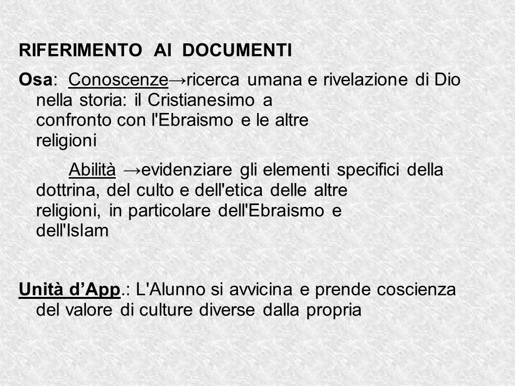 RIFERIMENTO AI DOCUMENTI