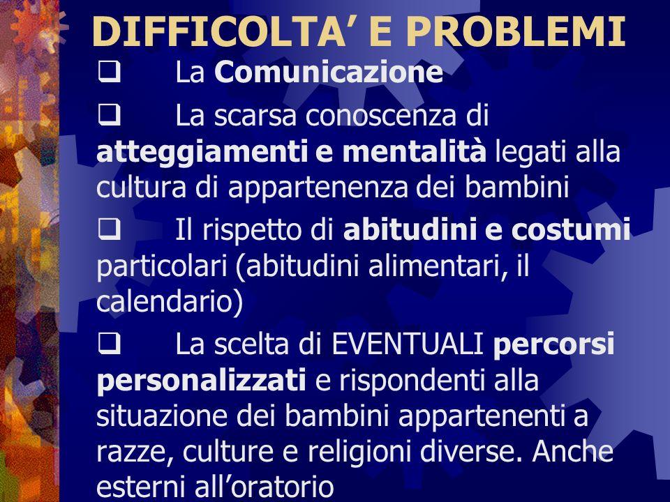 DIFFICOLTA' E PROBLEMI