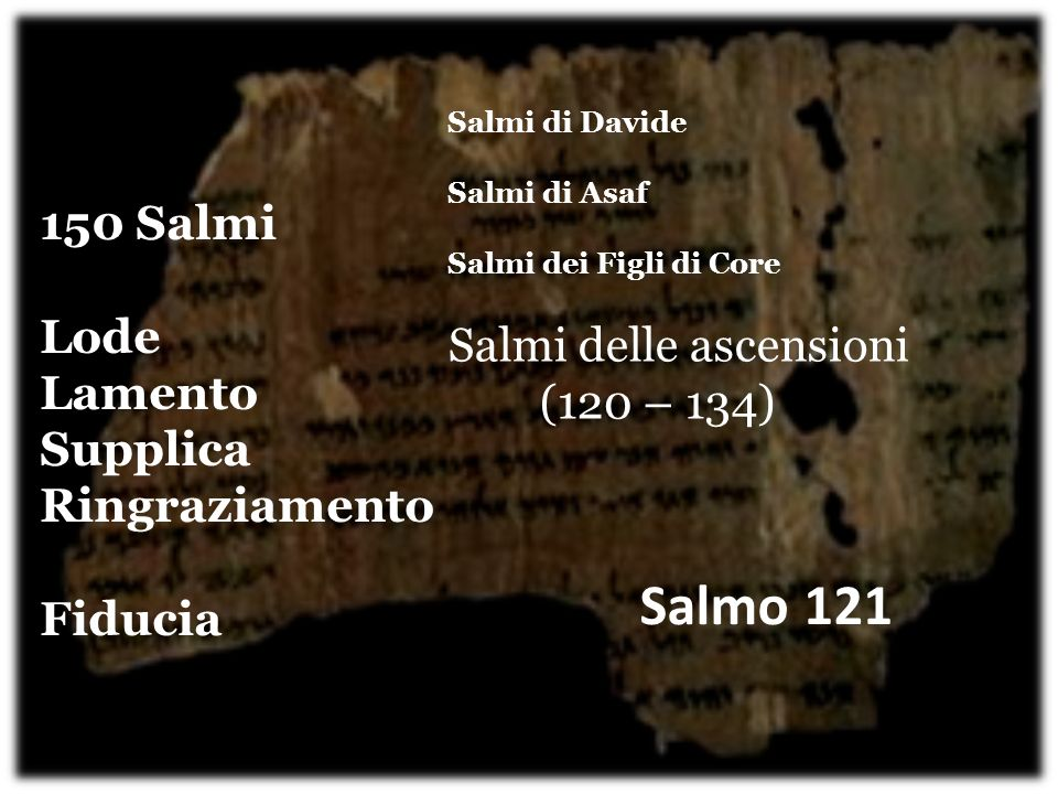 Salmo 121 150 Salmi Salmi delle ascensioni (120 – 134) Lode Lamento