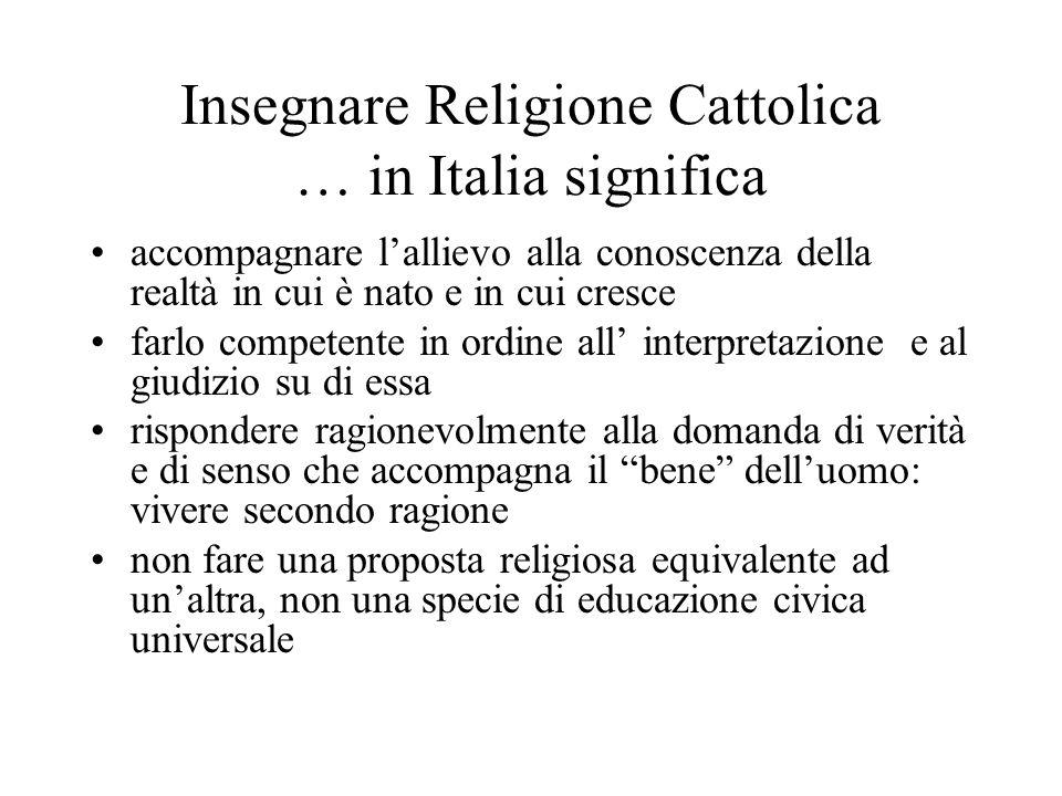 Insegnare Religione Cattolica … in Italia significa
