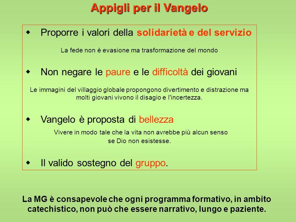 Appigli per il Vangelow Proporre i valori della solidarietà e del servizio. La fede non è evasione ma trasformazione del mondo.