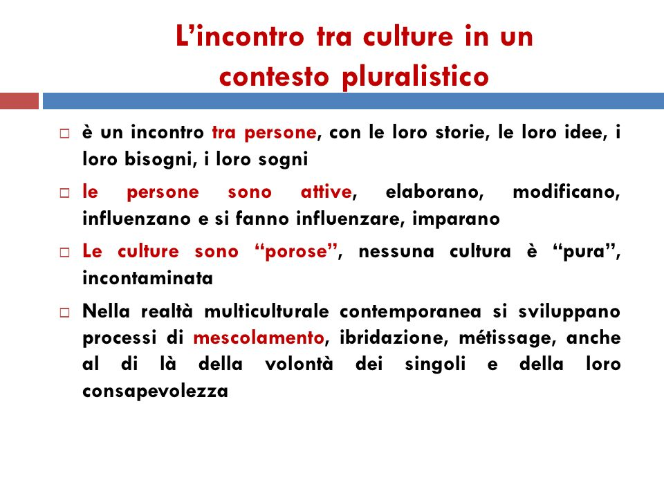 L'incontro tra culture in un contesto pluralistico