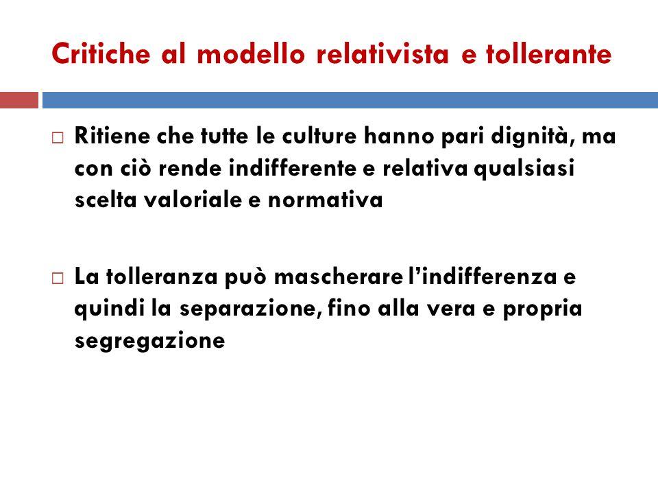 Critiche al modello relativista e tollerante