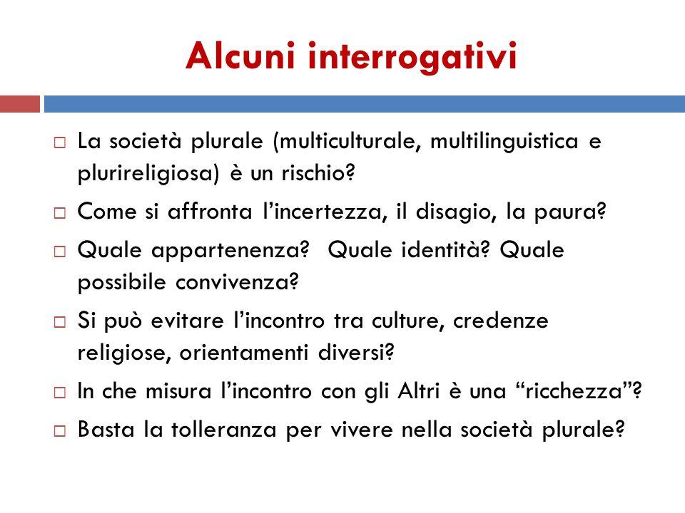 Alcuni interrogativi La società plurale (multiculturale, multilinguistica e plurireligiosa) è un rischio
