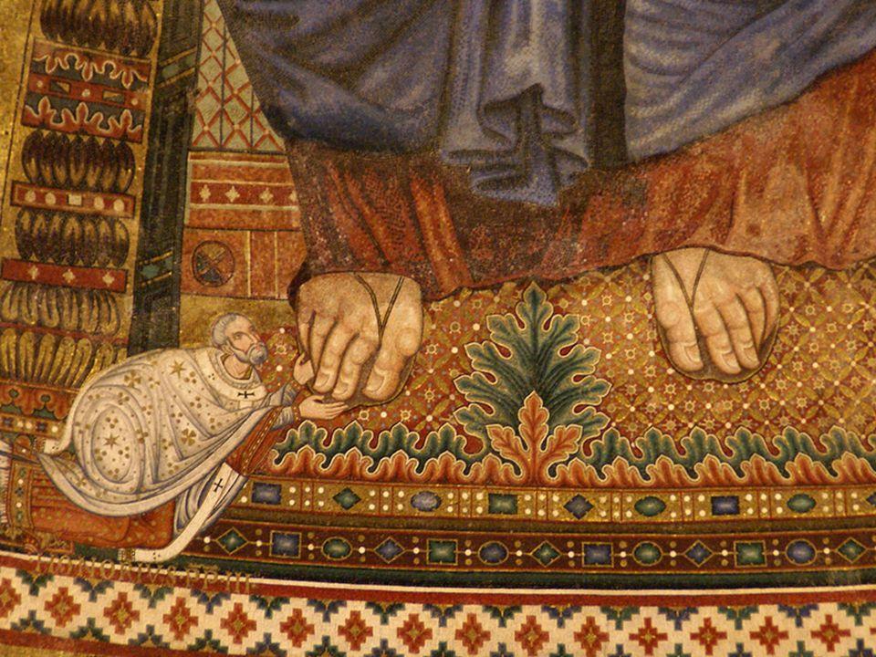 S. Paolo fuori le Mura, Mosaico absidale con papa Onorio III ai piedi di Cristo (XIII sec.)