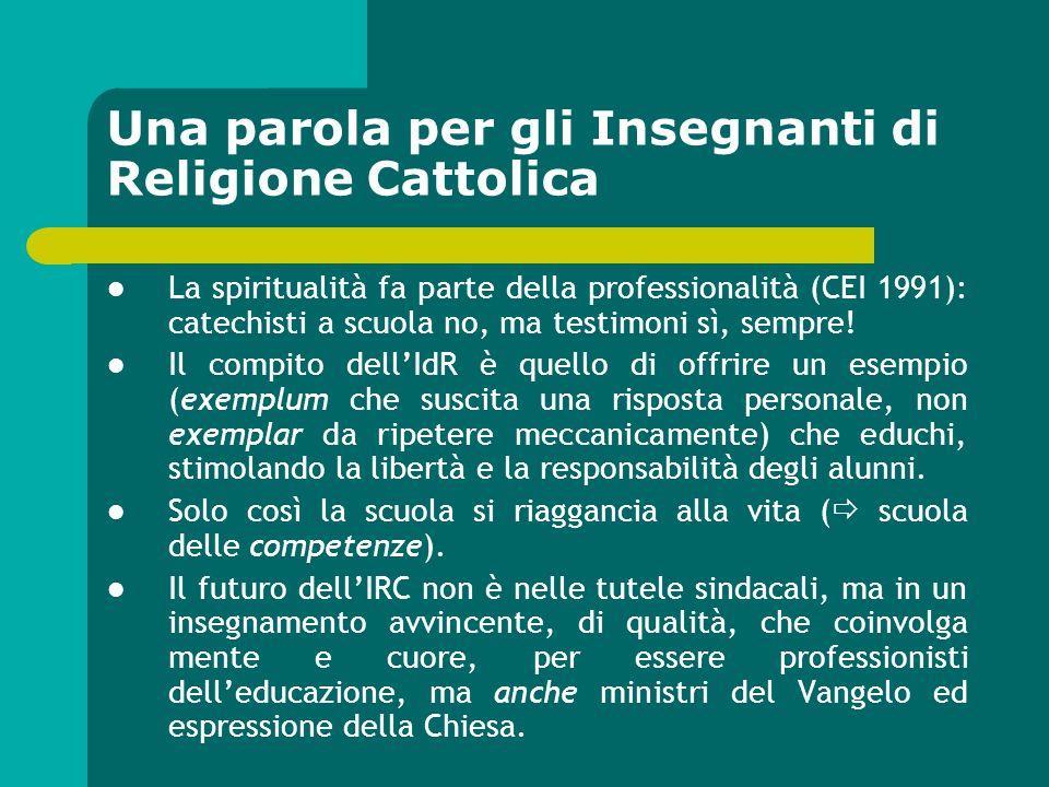 Una parola per gli Insegnanti di Religione Cattolica