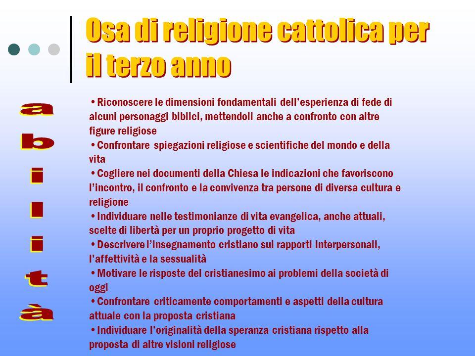 Osa di religione cattolica per il terzo anno