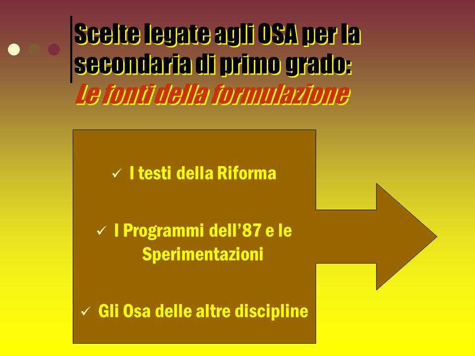 Scelte legate agli OSA per la secondaria di primo grado: Le fonti della formulazione