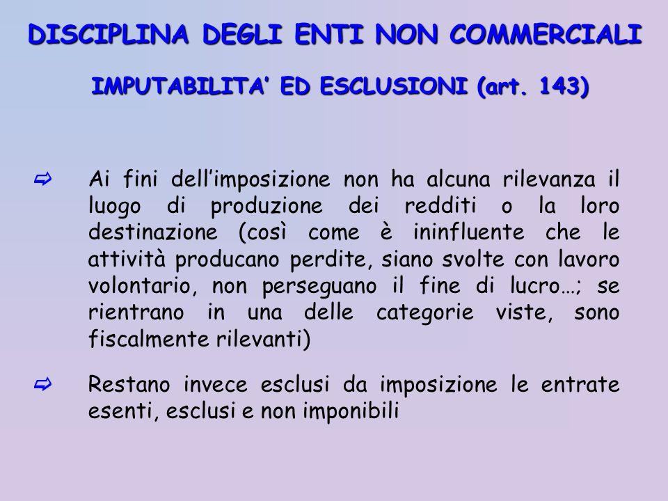 IMPUTABILITA' ED ESCLUSIONI (art. 143)