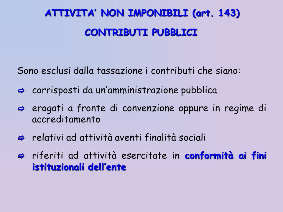 ATTIVITA' NON IMPONIBILI (art. 143)