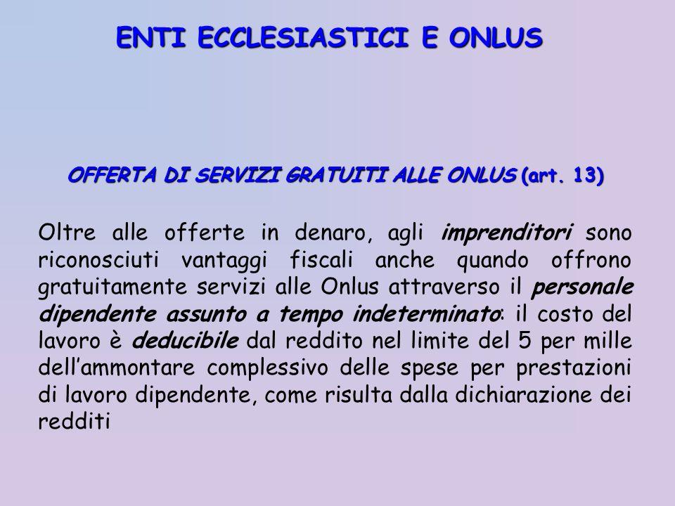 ENTI ECCLESIASTICI E ONLUS