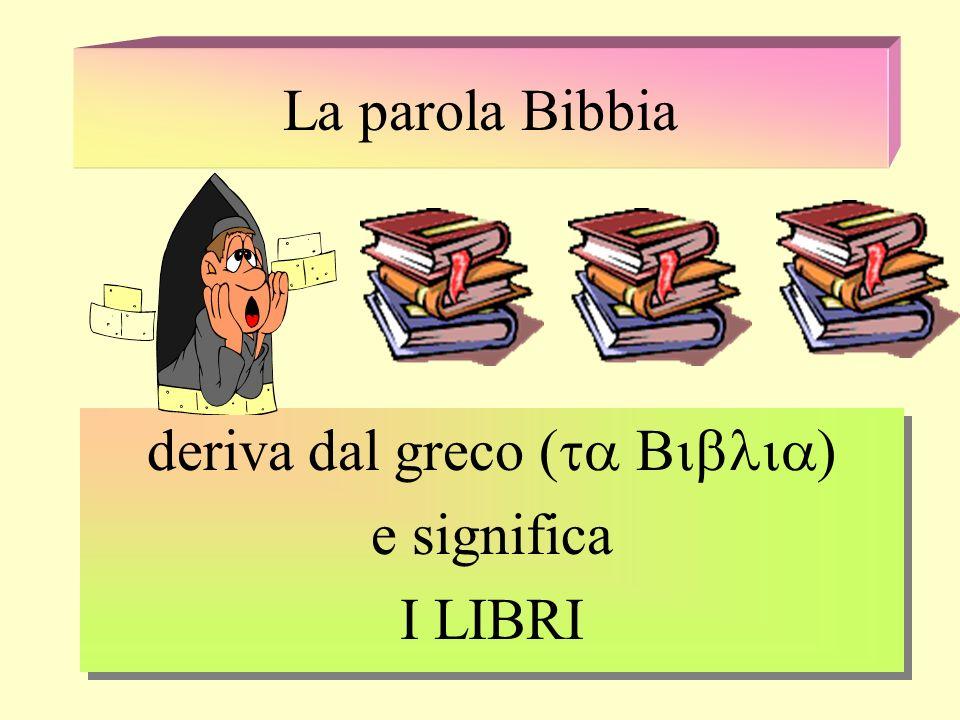 deriva dal greco (ta Biblia) e significa I LIBRI