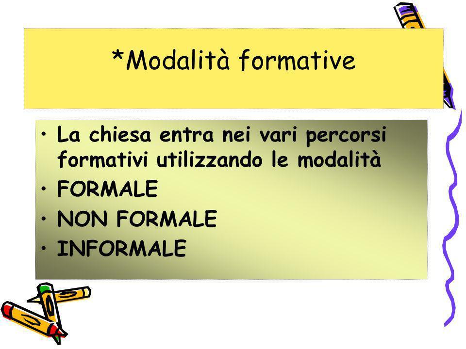 *Modalità formative La chiesa entra nei vari percorsi formativi utilizzando le modalità. FORMALE. NON FORMALE.