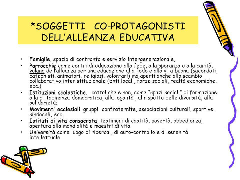 *SOGGETTI CO-PROTAGONISTI DELL'ALLEANZA EDUCATIVA