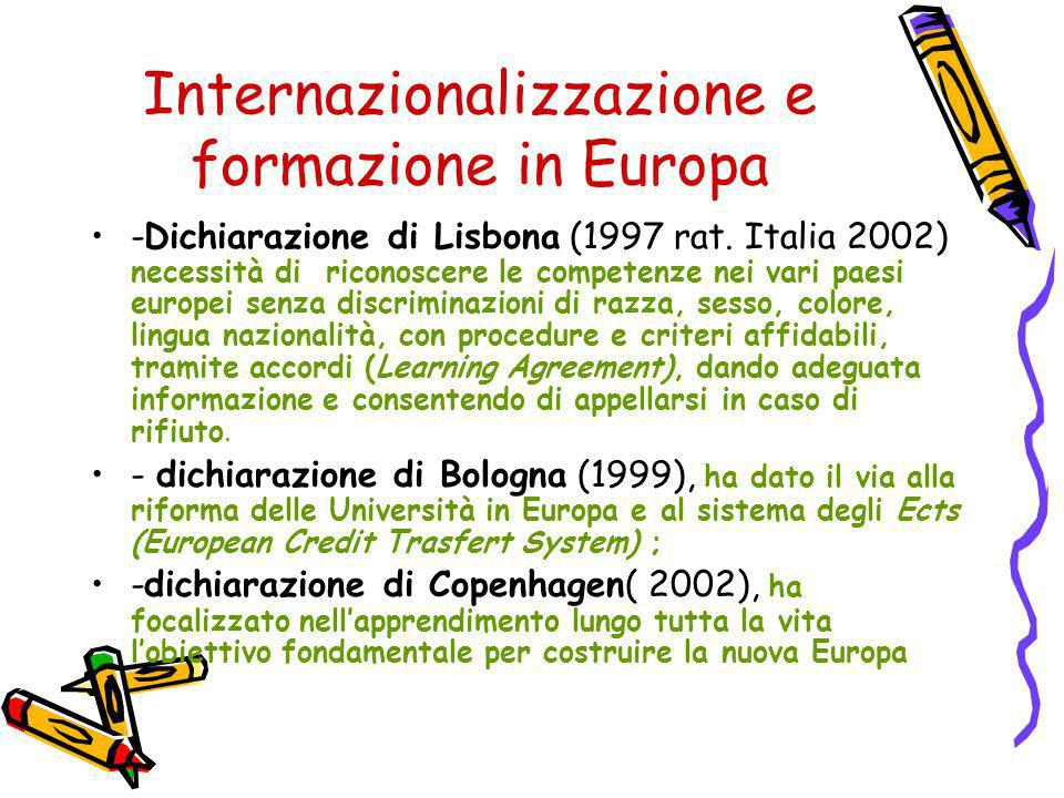 Internazionalizzazione e formazione in Europa