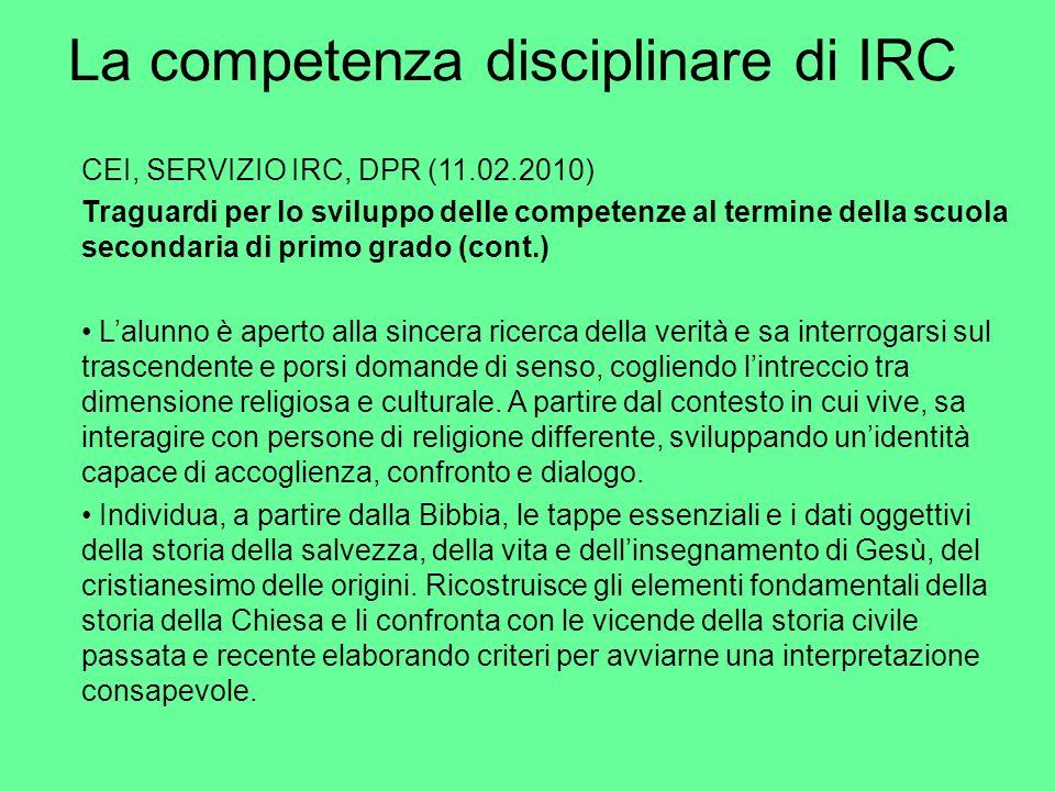 La competenza disciplinare di IRC