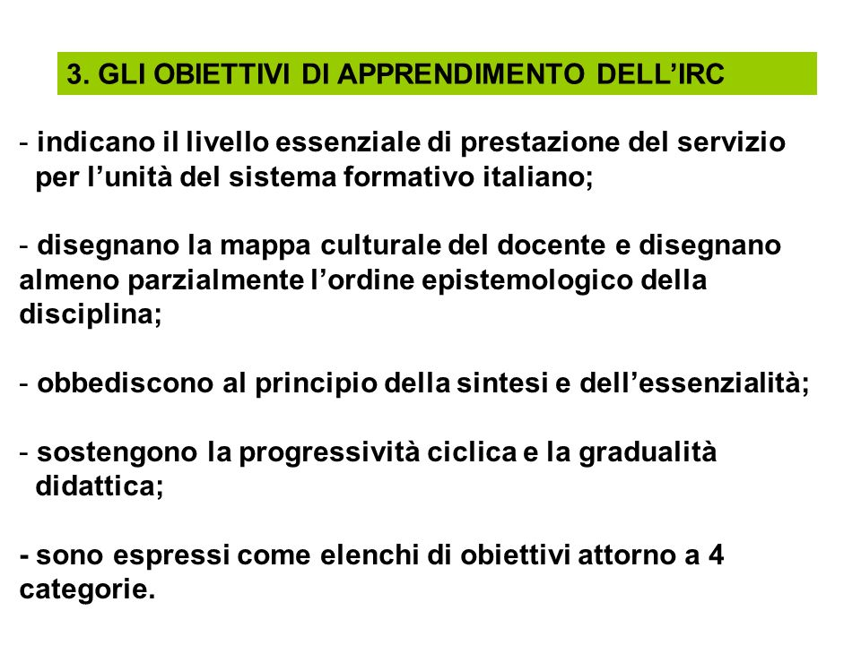 3. GLI OBIETTIVI DI APPRENDIMENTO DELL'IRC
