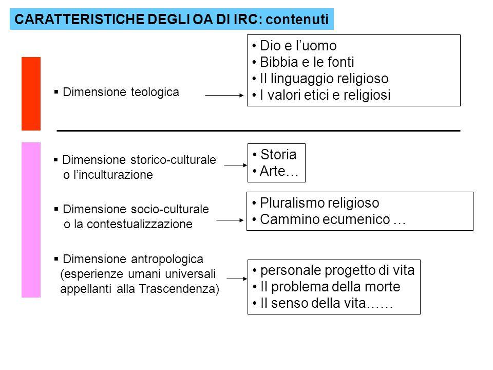 CARATTERISTICHE DEGLI OA DI IRC: contenuti