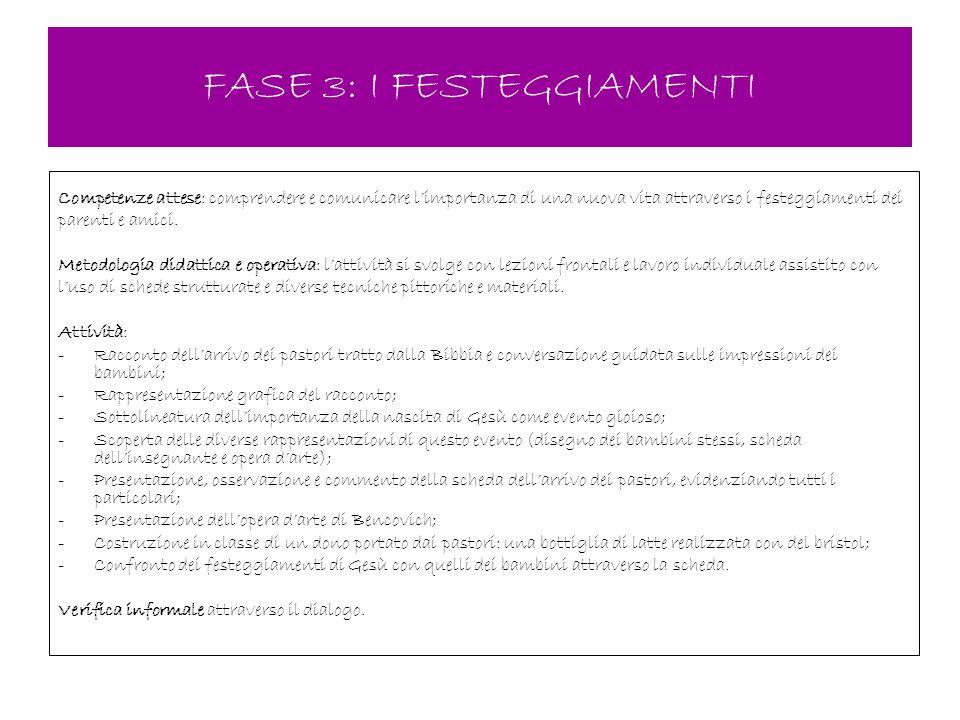 FASE 3: I FESTEGGIAMENTI