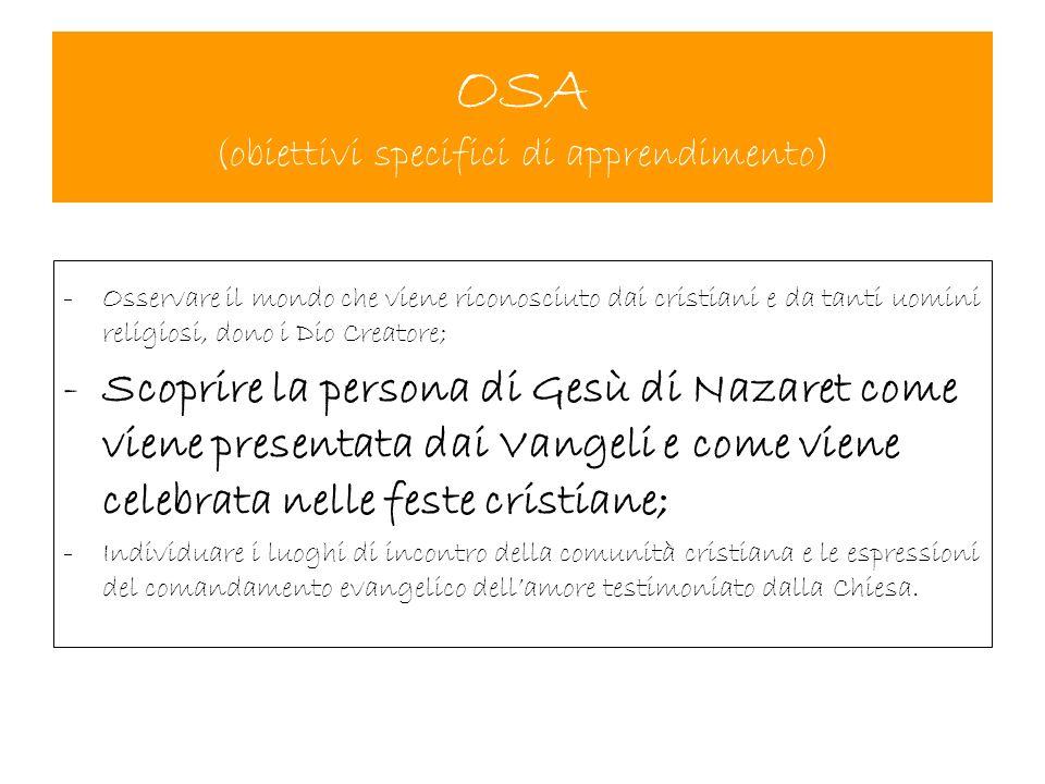 OSA (obiettivi specifici di apprendimento)