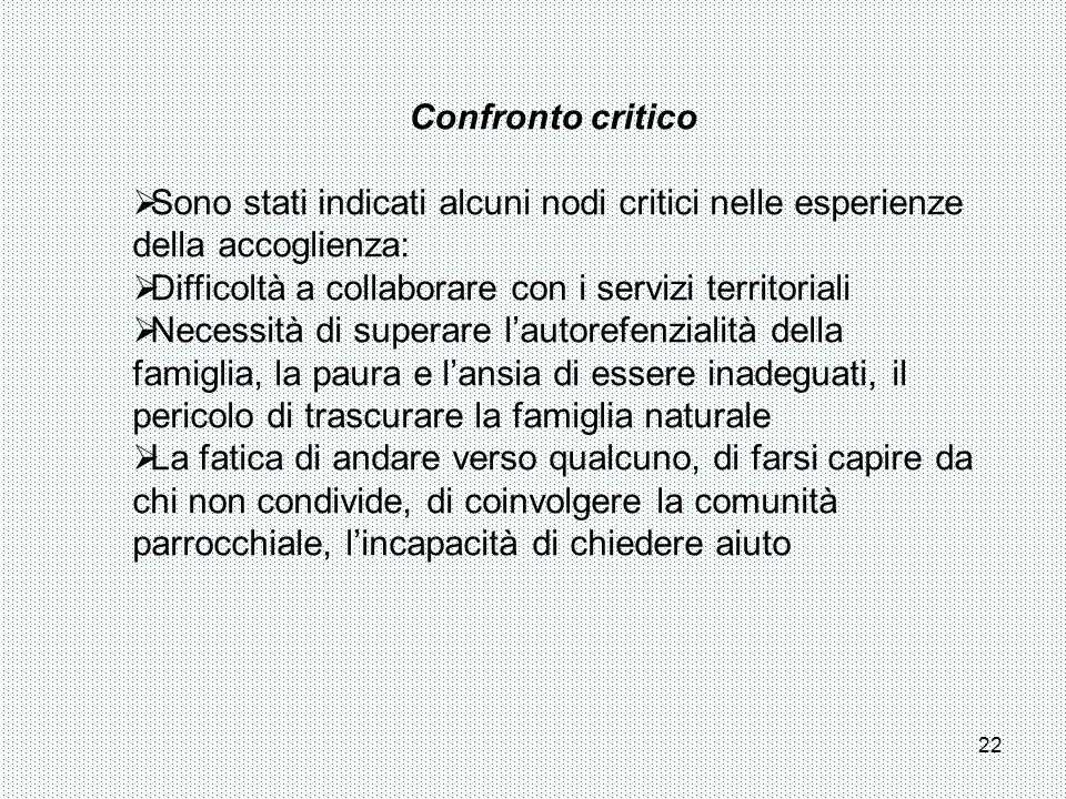 Confronto critico Sono stati indicati alcuni nodi critici nelle esperienze della accoglienza: Difficoltà a collaborare con i servizi territoriali.