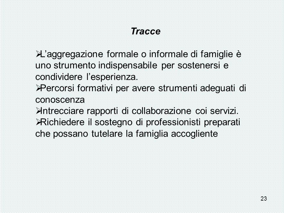TracceL'aggregazione formale o informale di famiglie è uno strumento indispensabile per sostenersi e condividere l'esperienza.