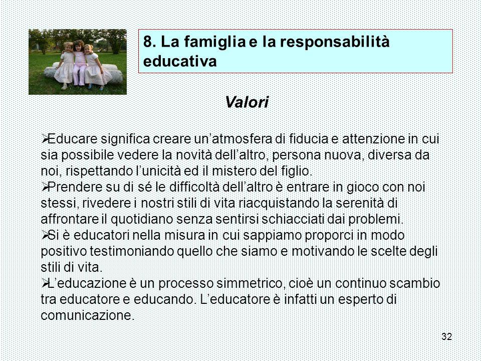 8. La famiglia e la responsabilità educativa