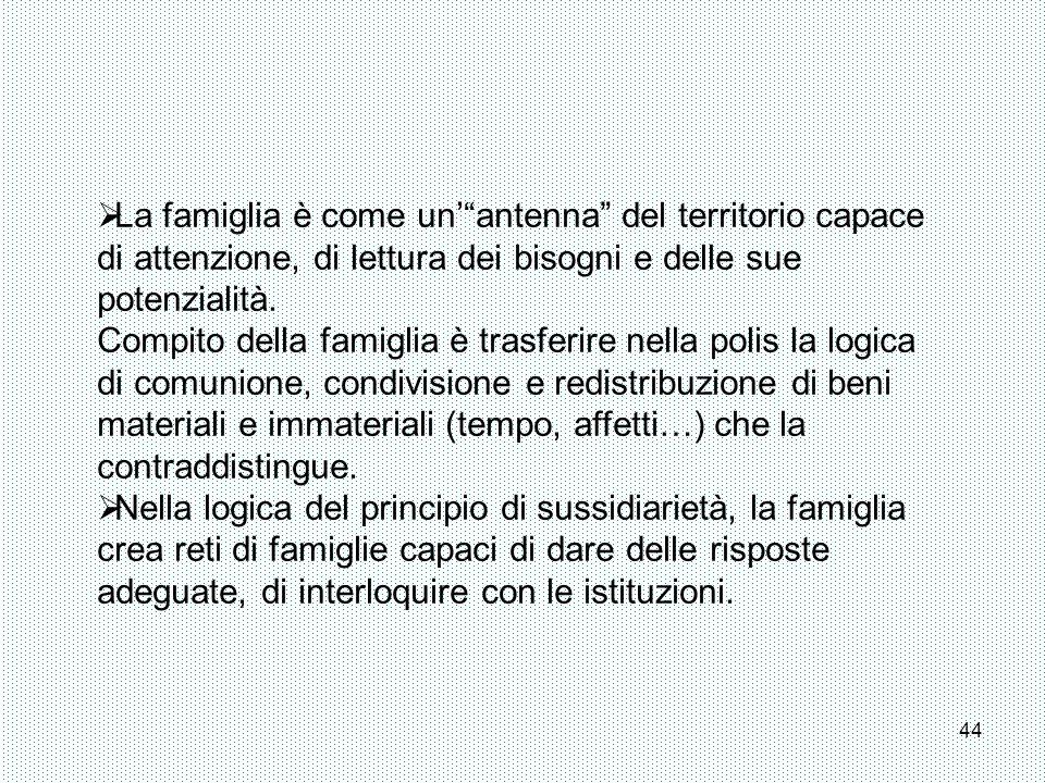 La famiglia è come un' antenna del territorio capace di attenzione, di lettura dei bisogni e delle sue potenzialità.
