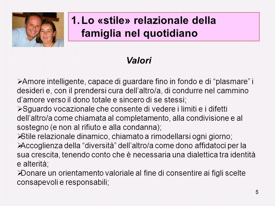 Lo «stile» relazionale della famiglia nel quotidiano