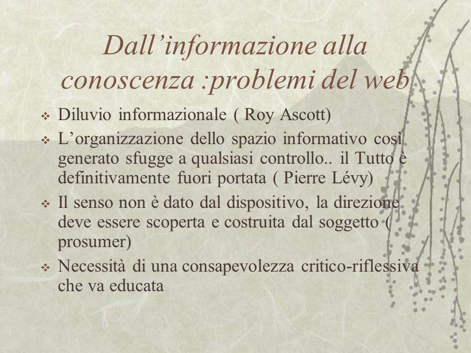 Dall'informazione alla conoscenza :problemi del web
