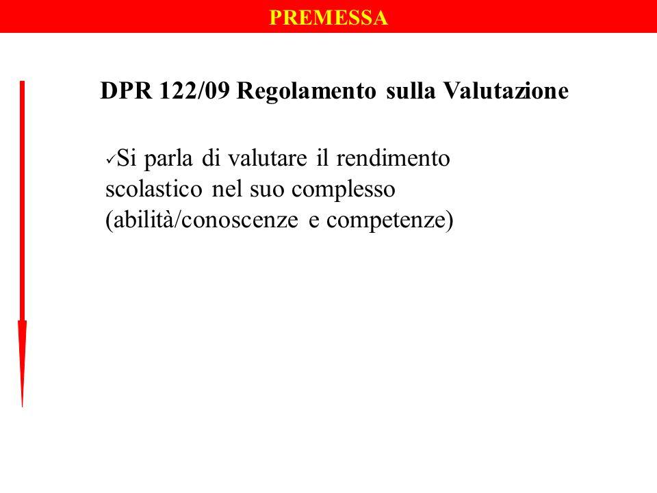 DPR 122/09 Regolamento sulla Valutazione