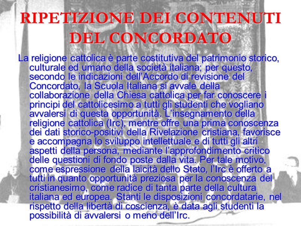 RIPETIZIONE DEI CONTENUTI DEL CONCORDATO