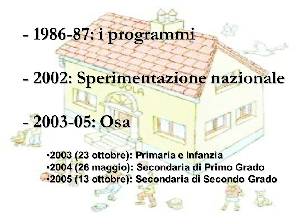 - 1986-87: i programmi - 2002: Sperimentazione nazionale - 2003-05: Osa