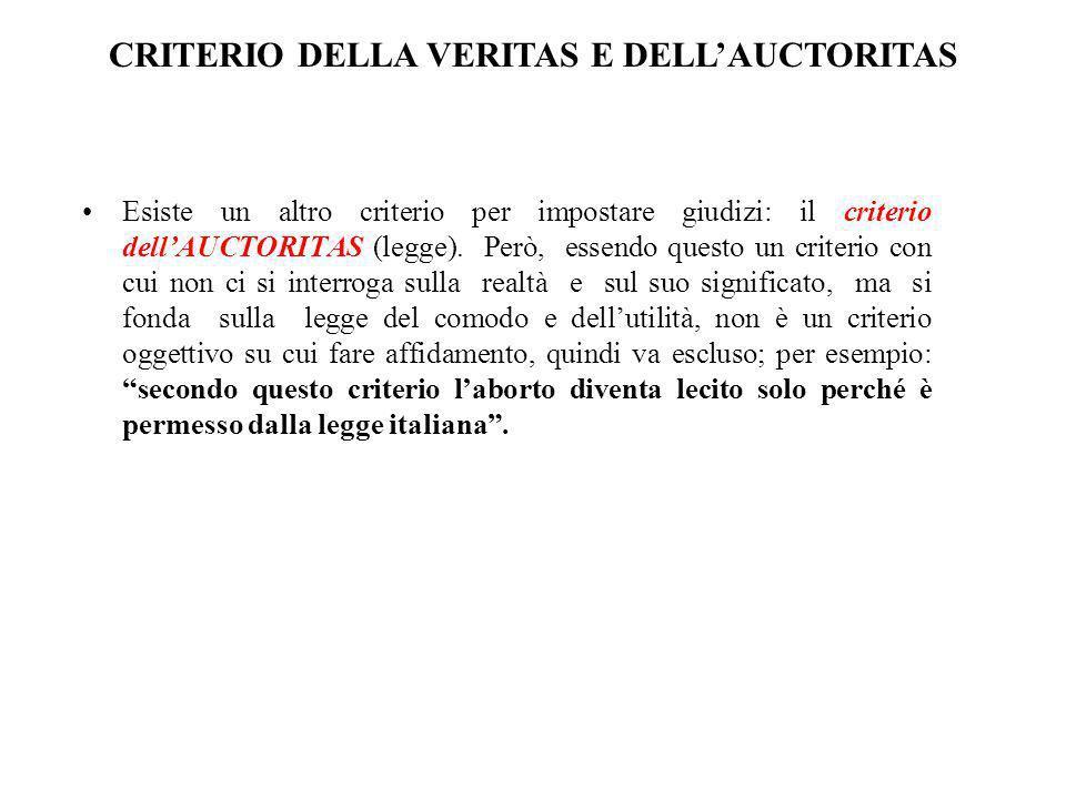 CRITERIO DELLA VERITAS E DELL'AUCTORITAS