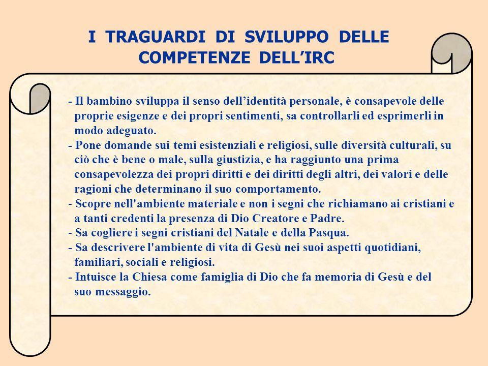 I TRAGUARDI DI SVILUPPO DELLE COMPETENZE DELL'IRC