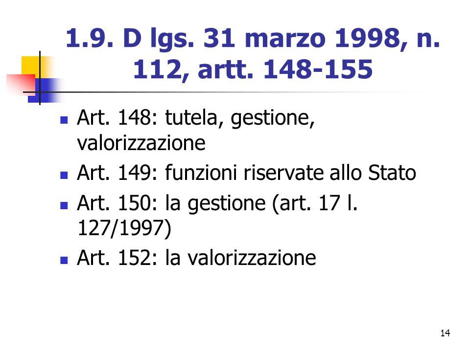 1.9. D lgs. 31 marzo 1998, n. 112, artt. 148-155 Art. 148: tutela, gestione, valorizzazione. Art. 149: funzioni riservate allo Stato.