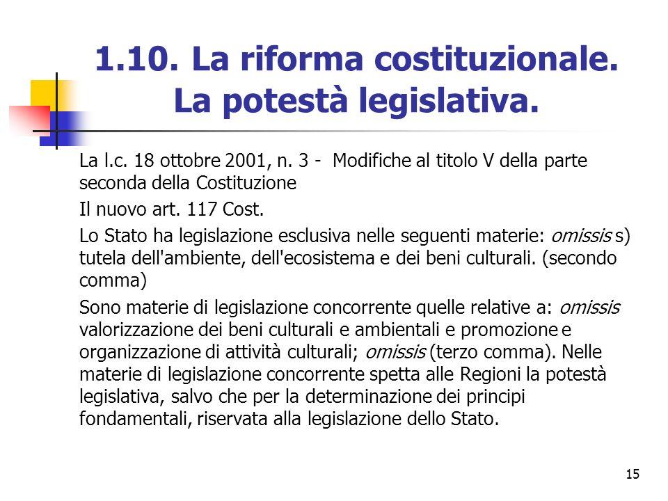 1.10. La riforma costituzionale. La potestà legislativa.