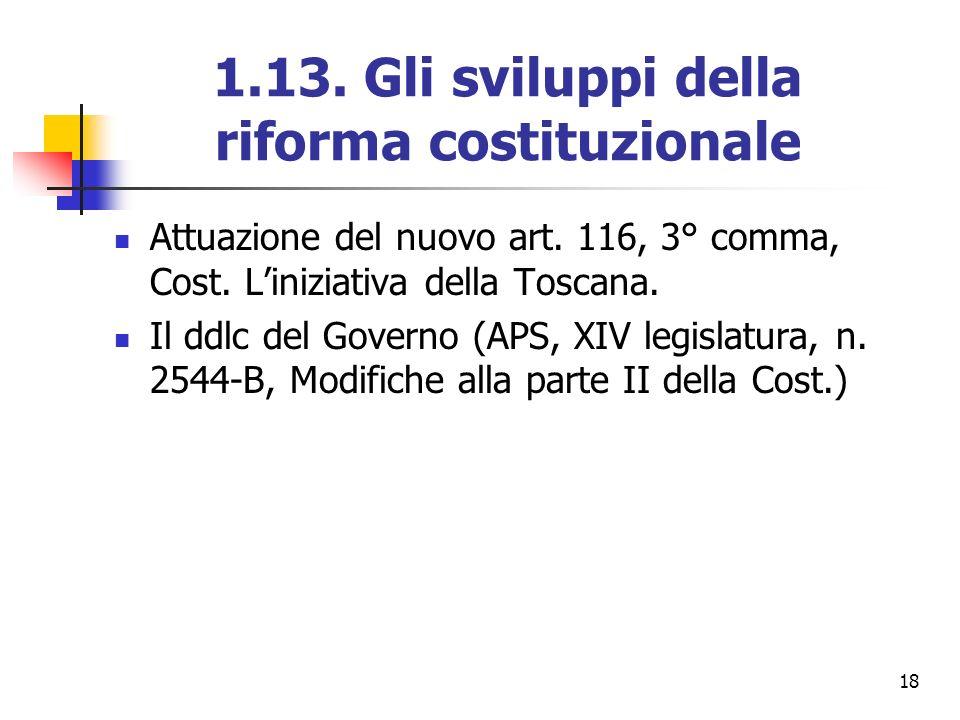 1.13. Gli sviluppi della riforma costituzionale