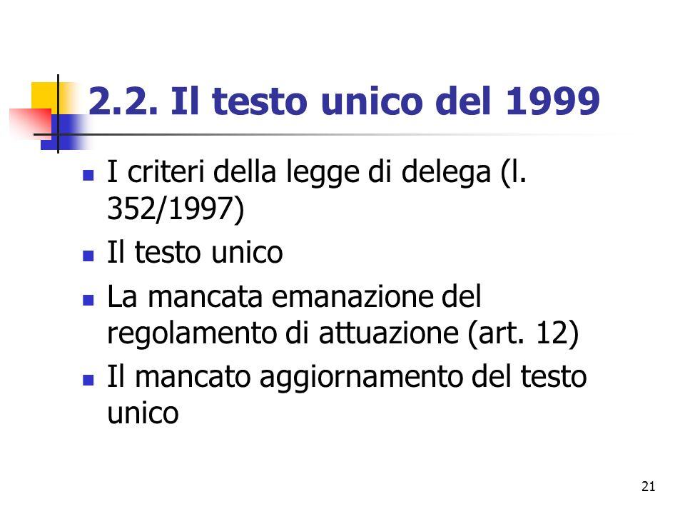 2.2. Il testo unico del 1999 I criteri della legge di delega (l. 352/1997) Il testo unico.