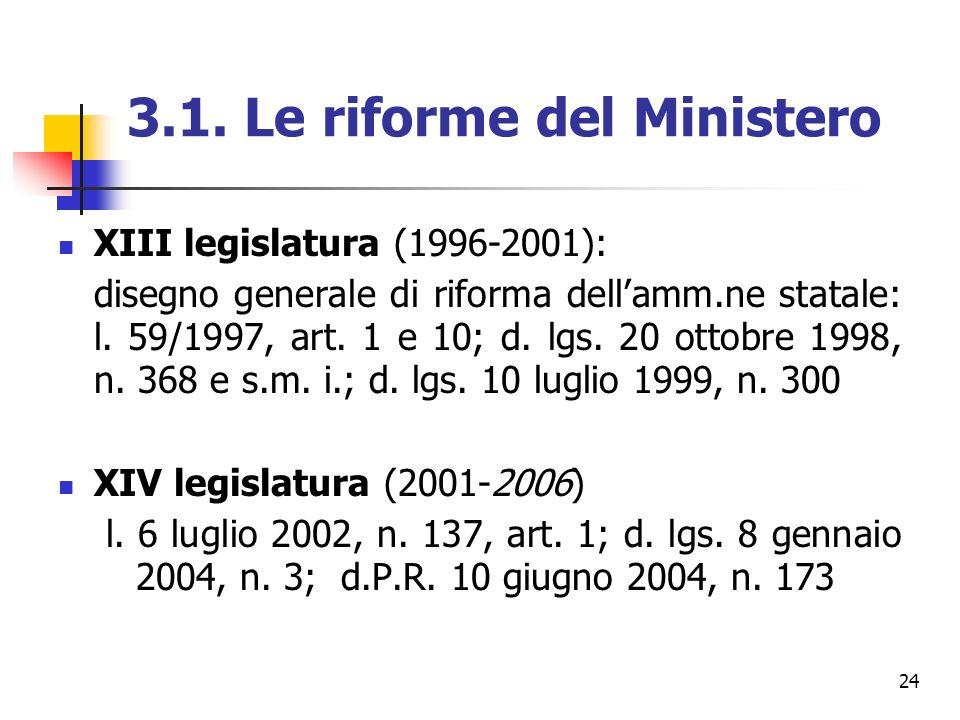 3.1. Le riforme del Ministero