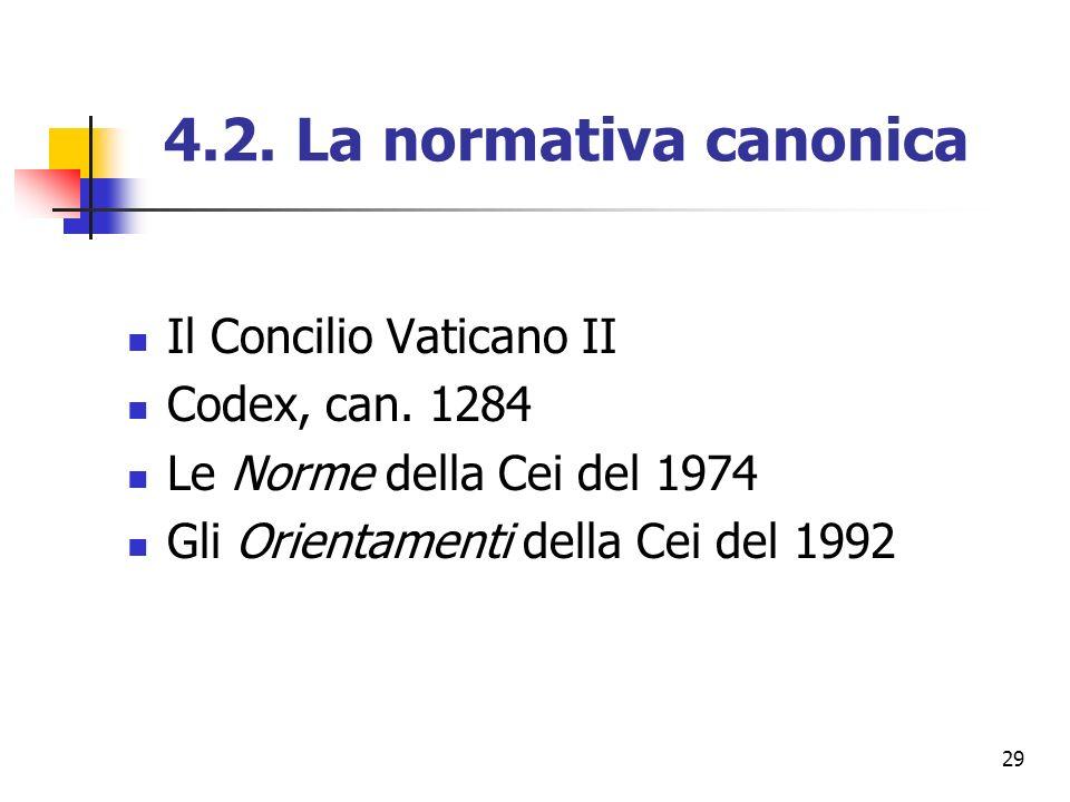 4.2. La normativa canonica Il Concilio Vaticano II Codex, can. 1284