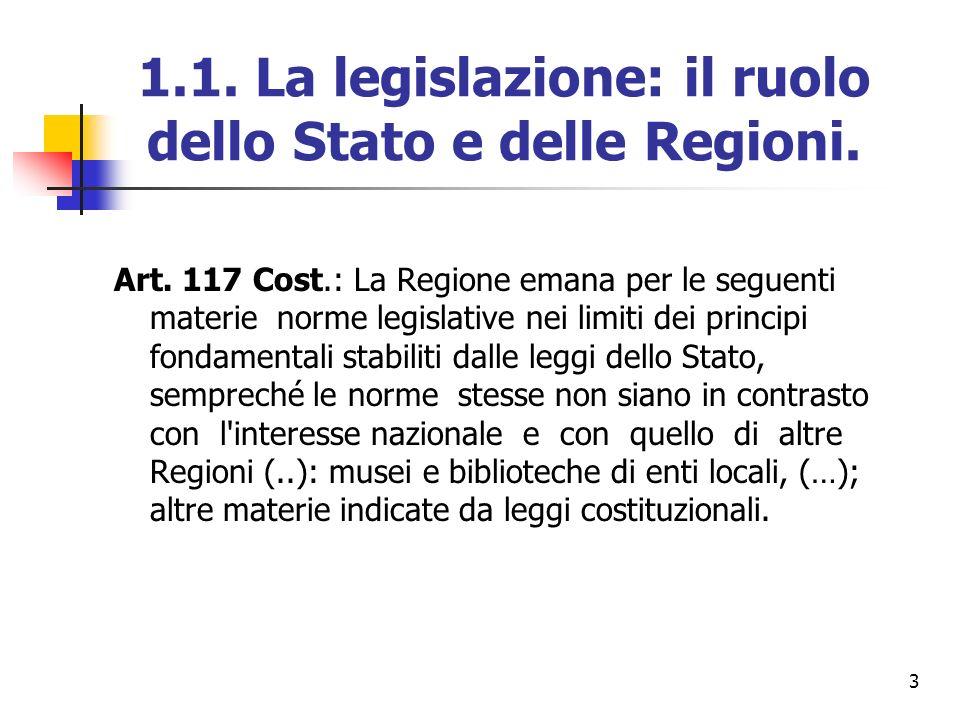 1.1. La legislazione: il ruolo dello Stato e delle Regioni.