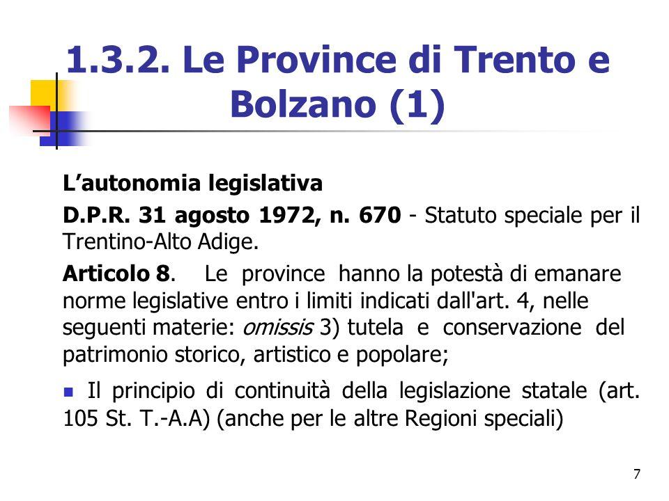1.3.2. Le Province di Trento e Bolzano (1)