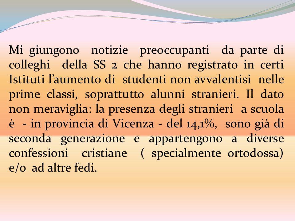 Mi giungono notizie preoccupanti da parte di colleghi della SS 2 che hanno registrato in certi Istituti l'aumento di studenti non avvalentisi nelle prime classi, soprattutto alunni stranieri.